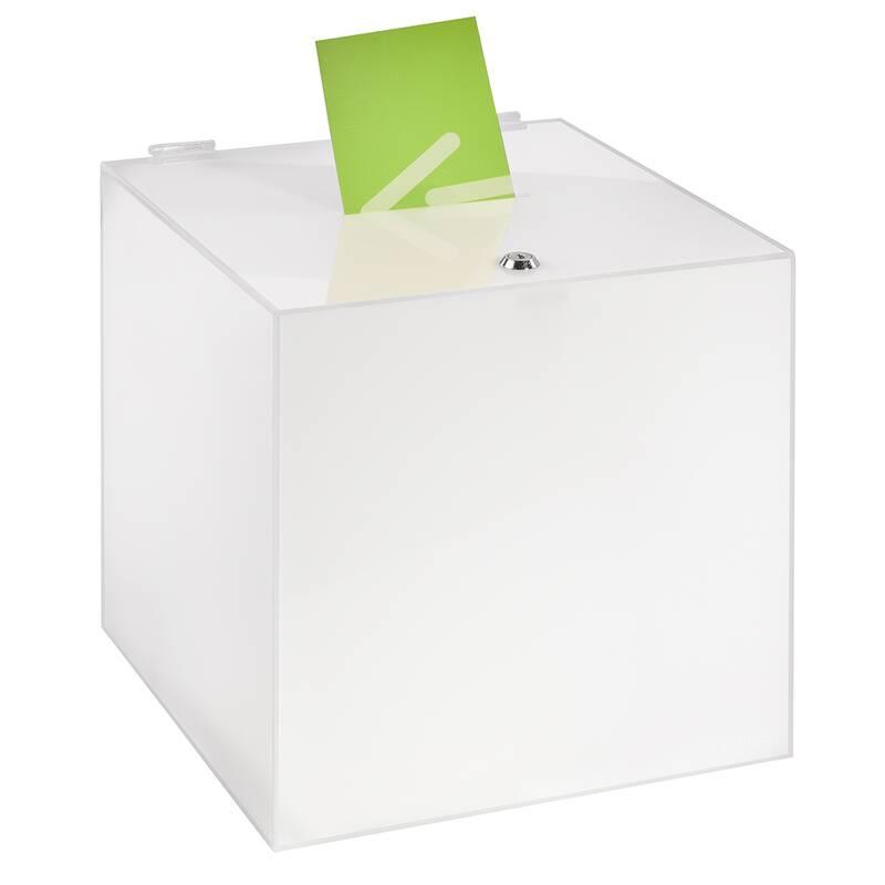 Einwurfbox//Gewinnspielbox aus Acrylglas//Spendenbox Opal//milchig Zeigis/® Losbox//Aktionsbox 200x200x200mm opal Wahlurne//Acryl undurchsichtig//Milchglas