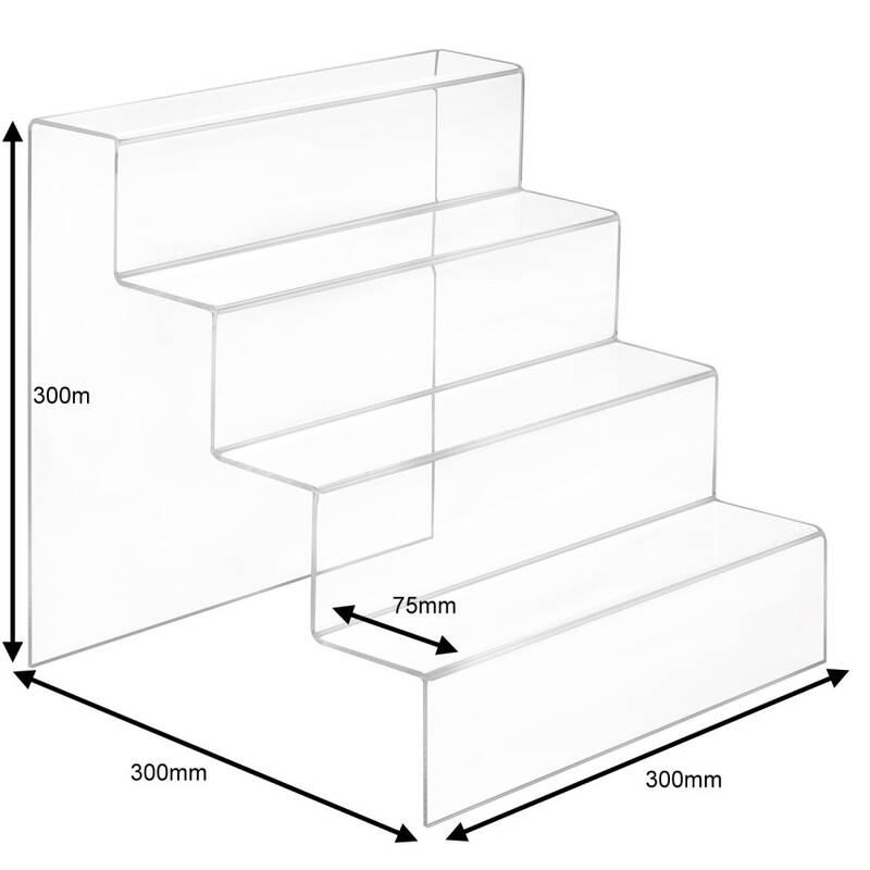 2-stufige Dekotreppe 300 mm breit 4 mm Acryl Warenträger Schaufenster Deko