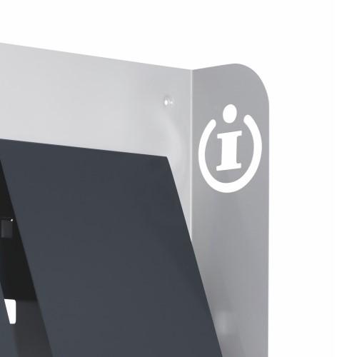 Prospekthalter DIN A4 aus Metall, mit Infostanzung.