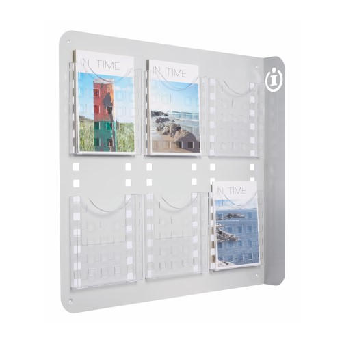 DIN A4 Wandprospekthalter mit 6 Fächern
